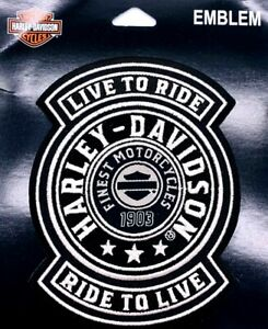 Harley Davidson® Live to Ride Ride to Live Finest Motorcycle 1903 Patch Emblem