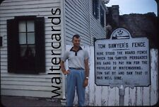 KODACHROME 35mm Slide 1960s 1961 Tom Sawyer Fence sign Handsome Man Fashion