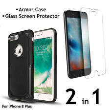 iPhone 8 Plus Armor Case PC+TPU Air Cushion Tech + Glass Screen Protector 2 in 1