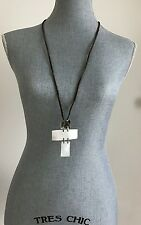 Long Mother Of Pearl Cross chunky pendant Necklace 925 SS adjust. leather Cord