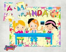 Art Party Personalized Wood Jigsaw Puzzles; FREE MATCHING POUCH; Little Artist