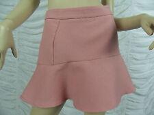 ZARA TRAFALUC pink floral jacquard frilled hem A-line mini skirt size L EUC