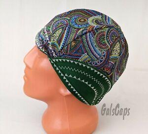 #42 Welders Hats Dot Swirl Bikers Caps, Welding Cap Hat, Cotton Made in USA