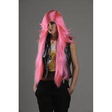 Perruque manga longue rose raie de côté la frange de côté deguisement costume