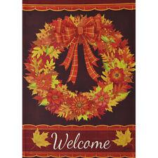 "Fall Wreath Welcome Sm Garden Flag 12.5"" X 18"" Seasonal 11-2671-160 Fall Rain"