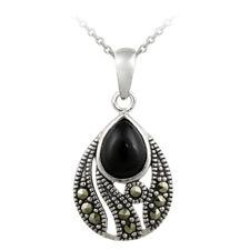 925 Silver Onyx & Marcasite Teardrop Pendant