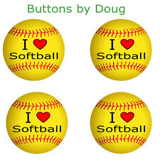 Set of four I Love Softball 1.5 Inch Pins for Hat, Smock etc.
