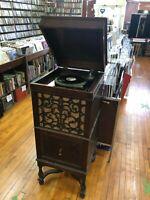 Edison W-250 Wind Up Diamond Record Phonograph Player Model 250 Works