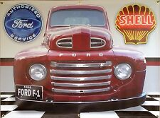 1948 FORD F1 TRUCK RETRO STYLE GARAGE SCENE BANNER SIGN NEON EFFECTS ART 4' X 3'