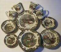 JOHNSON BROTHERS Set Of 28 THE FRIENDLY VILLAGE Plates Cups Bowls 4 Settings