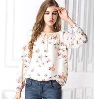 Women Floral Print Blouses Chiffon Long Sleeve Casual Women Shirts Polyester