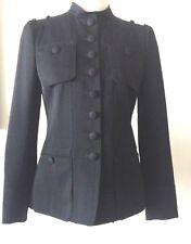 Vintage MOSCHINO Black Military Style Jacket Epaulets Striped Lining sz US 6
