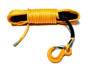 Synthetic winch rope 9mm 28m with hook! 8500kg breaking strain! Orange