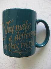 """YOU MAKE A DIFFERENCE"" 12oz Coffee APPRECIATION Mug HALLMARK BLUE STONEWARE CUP"