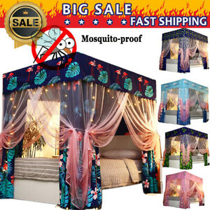 Anti-glar Flamingo Mosquitoproof Lightproof 4 Corner Bed Curtain Canopy Net Post
