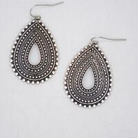 lucky brand jewelry vintage silver tone teardrop earrings drop dangle hoops