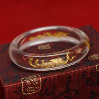 Free Shipping 24K Yellow Gold & Crystal Bracelet Lucky Dragon & Phoenix Bangle