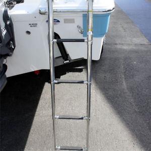 Folding & Telescoping 4 Steps Boat Ladder Stainless Steel Heavy Duty