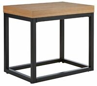 The Collection Austin End Table Side Coffee Oak Metal Effect Industrial Design