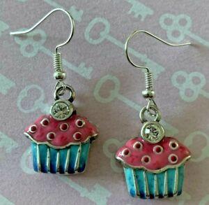 Brighton Cupcakes Happy Birthday Pink & Blue Crystal Too Custom Earrings