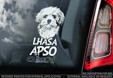 Lhasa Apso - Car Window Sticker - Dog on Board Sign Gift - Bichon Havanais Frise