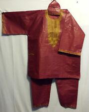 Mens Clothing 3Pcs Dashiki Pant Suit boho African Brocade Print Maroon Free Size