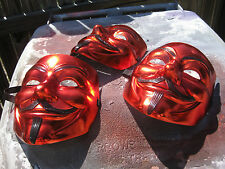 RED CHROME METALLIC painted custom Guy Fawkes V Vendetta Anonymous Mask cosplay