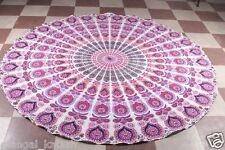 Indian peacock mandala tapestry round cotton table cloths yoga mat home decor