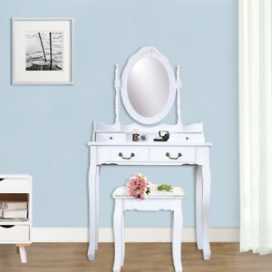 4 Drawer Vanity Table Set Dressing Table with Cushioned Stool Makeup Table White