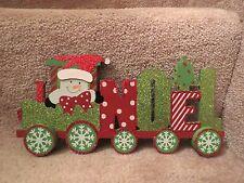 """Wooden Glitter Train - Snowman """"Noel"""""""