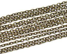 1m Chaine maille Forçat chainette bronze 3 x 2mm petit maillon, creation bijoux