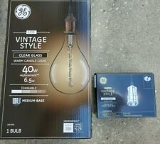 Large Ge Vintage Style Clear Glass Bulb 40W Led Ps52 & Fixture Satin Nickel