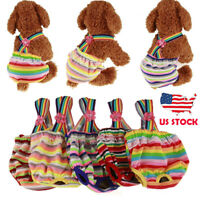 Pet Female Dog Puppy Washable Strap Stripe Sanitary Pants Underwear Cloth Diaper