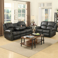 Gold Thread  3+2 Sofa Set Loveseat Couch Recliner Leather Living Room Black