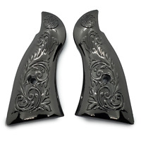 LUXURY Smith & Wesson Scroll Metal Grips - K-Frame Square Butt Black