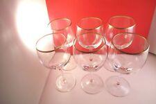 Lovely Lenox Laurent Gold Rim Clear Glass Set of 6 Water Goblets Glasses