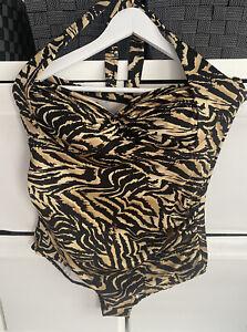 George Size 22UK Black/Gold/Beige Ruched Tummy Control Halter-neck Swimsuit
