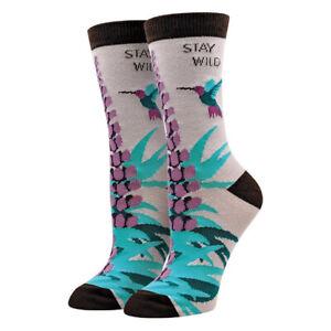 Stay Wild Sock Harbor Women's Crew Socks Lavender New Novelty Bird Fashion