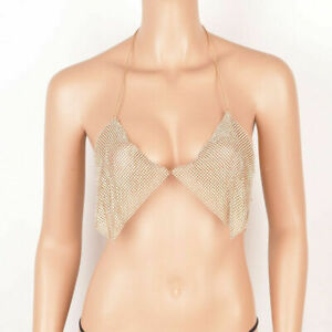 Sexy Women's Rhinestone Bra Chest Chain Crystal Bikini Jewelry Metal Belly Bling