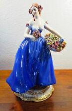 Guido Cacciapuoti Girl in Blue Dress and Large Flower Basket Figurine. 2A