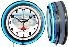 "Mooney Aircraft Airplane 19"" Double Neon Clock Blue Neon Man Cave Hanger Garage"