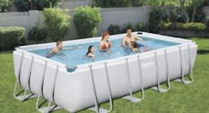 Bestway 5.49m x 2.74m x 1.22m  Steel Frame Rectangular Pool - Grey (56466 )