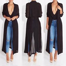 UK Womens Casual Long Sleeve Cardigan Chiffon Shirt Party Maxi Long Tops Dress Black 10