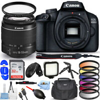 Canon EOS 4000D / Rebel T100 with EF-S 18-55mm III Lens 32GB Flash Tripod Bundle