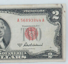 1953A US Note $2 Dollar Bill; Red Seal; A56893844A Block Serial-CRISPY