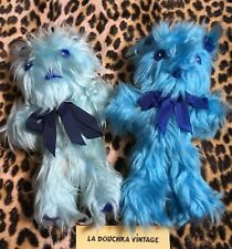 FRENCH 1970s BLUE STUFFED ANIMALS~LOT OF 2 PLUSH BEARS~HANDCRAFTED IN FRANCE~NEW