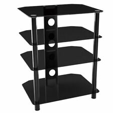 Black Tempered Glass Stand with 4 Shelves for AV Hi-Fi Equipment and Weight 40Kg