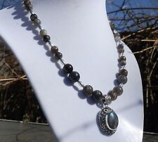 """17"""" Iolite Necklace with Sterling Silver Labradorite Pendant"""