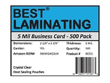 Best Laminating - 5 Mil Business Card Therm. Laminating Pouches - 2-1/4 x 3-3/4
