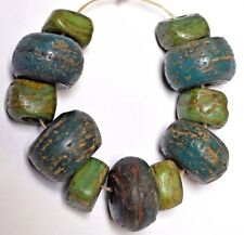 Ancient Green Wound Glass Hebron Kano Beads From West Bank Israel African Trade